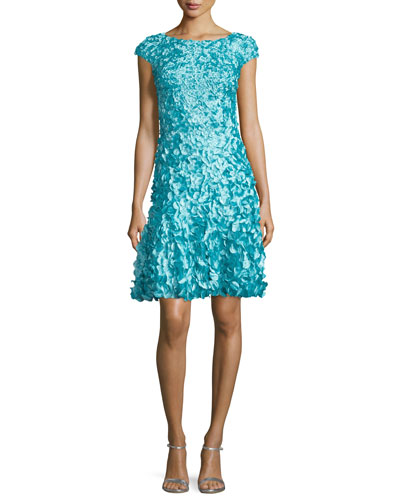 Cap-Sleeve Petal-Embellished Dress, Pacific Blue