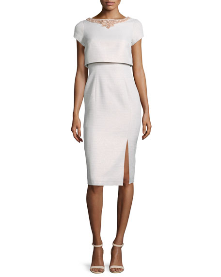 Theia Short-Sleeve Popover Cocktail Dress