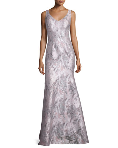 Sleeveless Printed Mermaid Gown