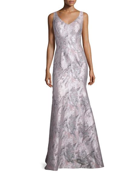 Theia Sleeveless Printed Mermaid Gown