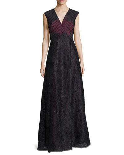 Sleeveless Embellished Evening Gown, Wine