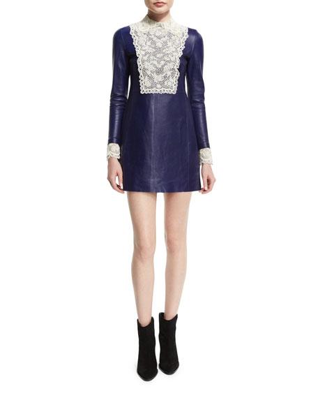 Leather & Lace Mini Dress, China Blue