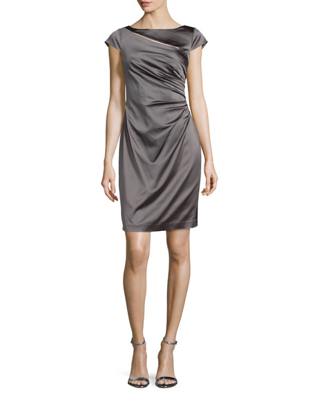 Kay Unger New York Cap-Sleeve Ruched Cocktail Dress, Mink