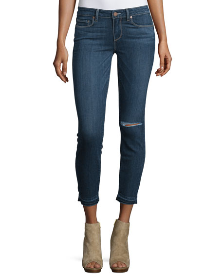 Paige Denim Verdugo Distressed Cropped Jeans, Blue