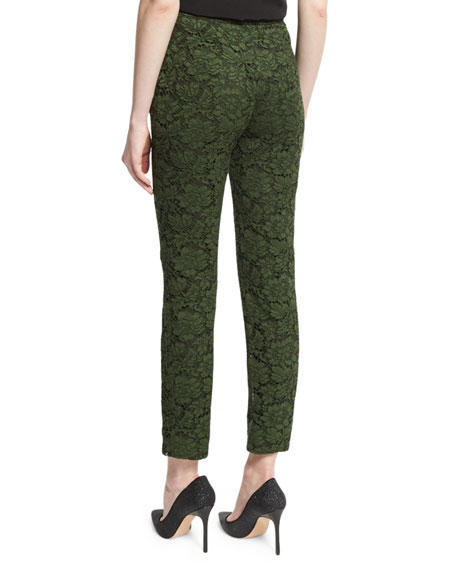 Floral-Lace Cropped Pants, Hunter