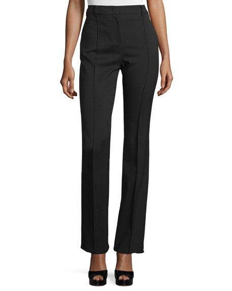 Valentino High-Waist Straight-Leg Pants, Black