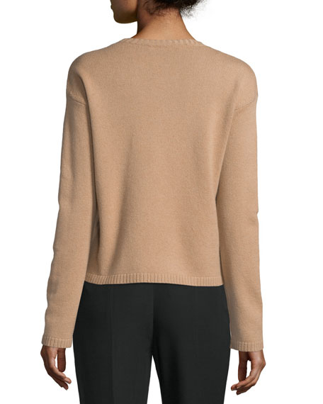 Long-Sleeve Cashmere Sweater, Sand