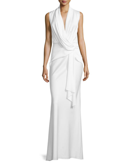 Camilla and MarcSleeveless Cowl-Neck Drape-Front Gown