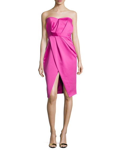 Camilla and MarcStrapless Pleated Sweetheart Cocktail Dress, Hot
