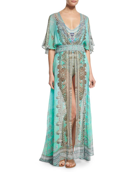 Camilla V-Neck Printed Silk Long Coverup Dress, Traje