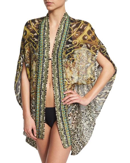 Camilla Open-Front Printed Silk Cardigan/Cape Coverup, Armada