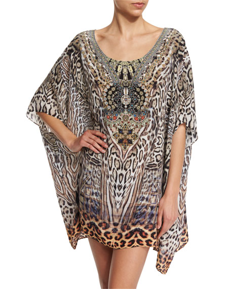 Camilla Printed Embellished Short Caftan Coverup, The Mighty