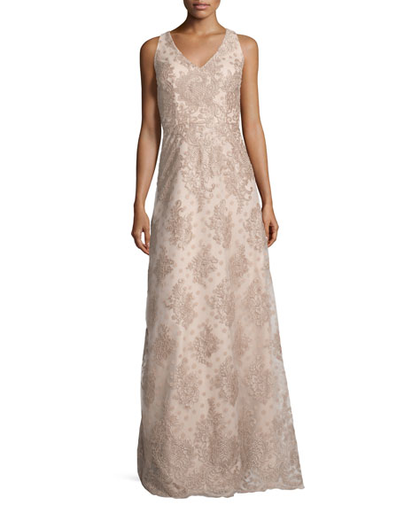 Sleeveless Polka Dot Lace Gown