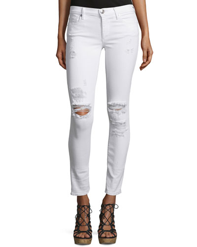 Halle Mid-Rise Super Skinny Ankle Jeans, True Destroyed White