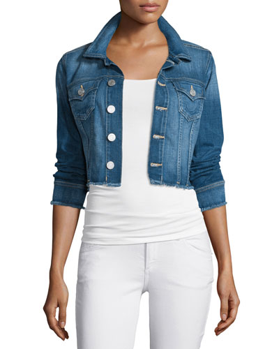 Ladies Cropped Denim Jacket