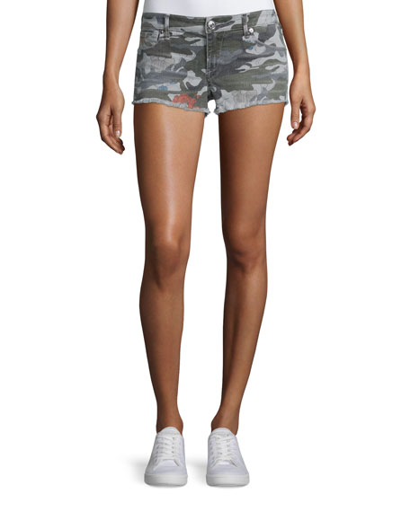 True Religion Joey Cutoff Denim Shorts, Camo Floral