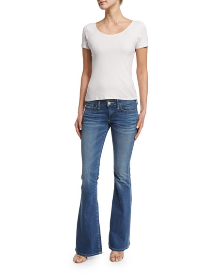 Karlie Low-Rise Bell-Bottom Jeans, Authentic Blue