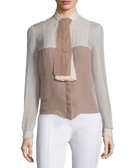 Valentino Long-Sleeve Colorblock Top, Beige