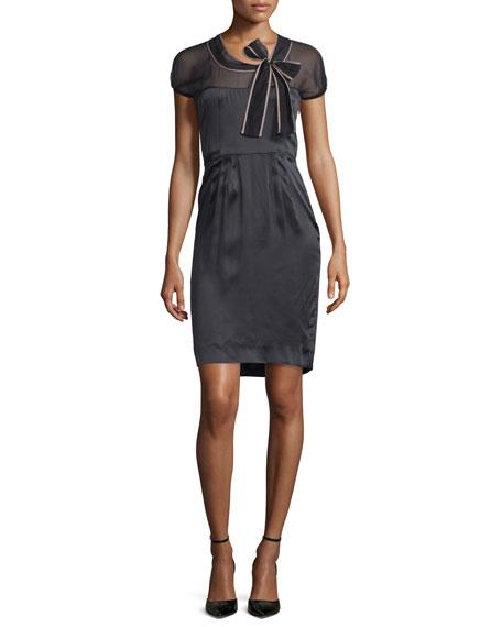 Valentino Short-Sleeve Sheer-Yoke Sheath Dress, Nero