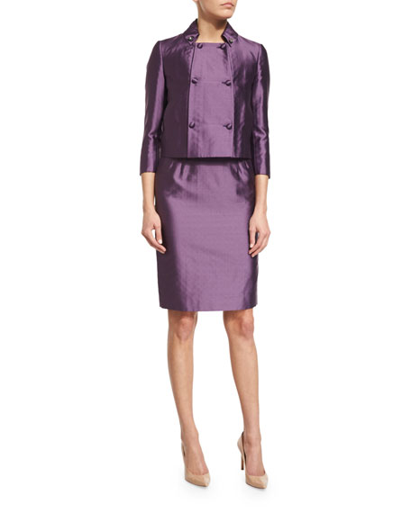 Valentino 3/4-Sleeve Double-Breasted Jacket, Purple