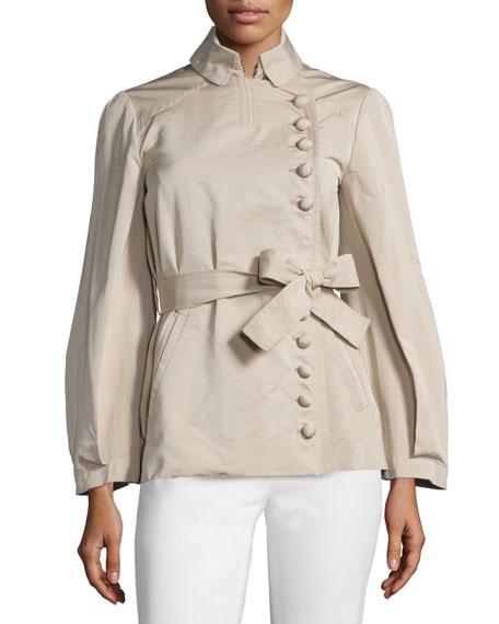 Valentino Asymmetric Button-Front Belted Jacket, Beige