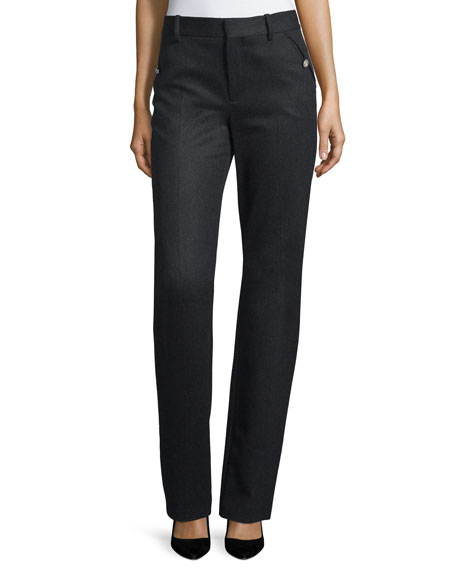 Valentino Flat-Front Straight-Leg Pants, Black