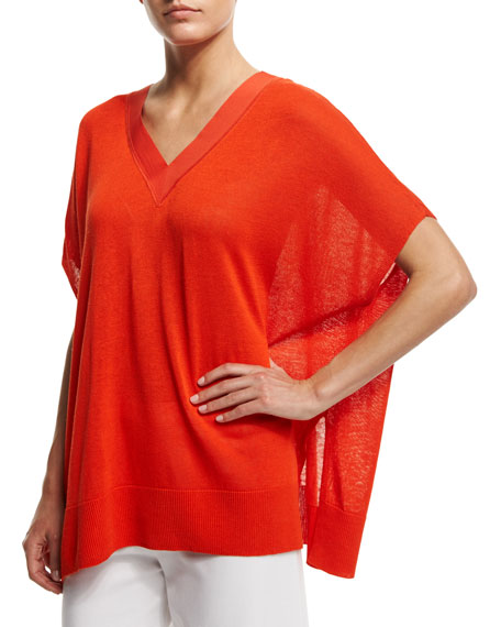 Joan Vass V-Neck Boxy Linen-Blend Sweater, Petite