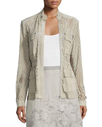 Katya Perforated-Suede Safari Jacket, Sand