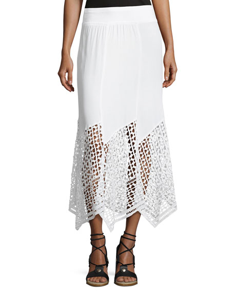 XCVI Lauryn Midi Lace-Hem Skirt