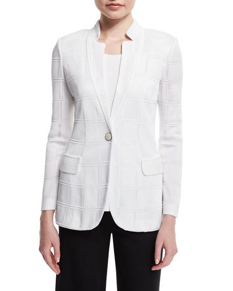 Textured Square One-Button Jacket, Petite