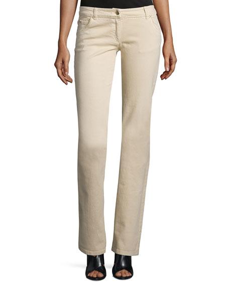Valentino Low-Rise Straight-Leg Jeans, Beige