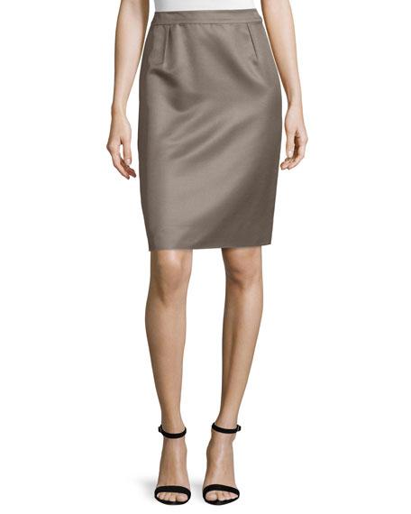 Valentino Mid-Rise Pencil Skirt, Smoke
