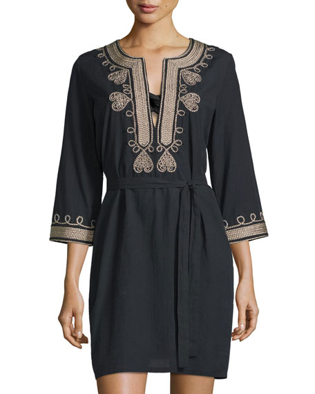Figue Sophie Embroidered-Trim Dress Coverup