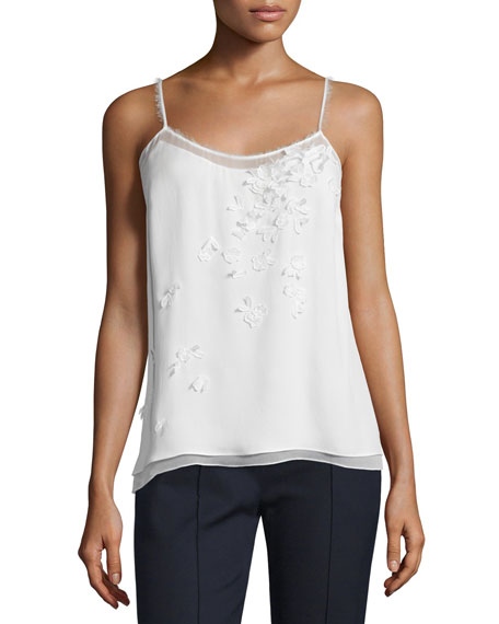 Elie Tahari Aldin Sleeveless Floral Applique Blouse