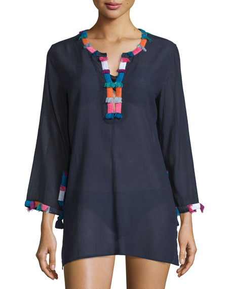 Figue Lisbette Crepe Tunic W/Fringe, Midnight Navy