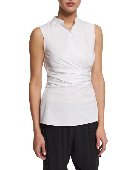 Elie Tahari Maisa Sleeveless Faux-Wrap Blouse, White