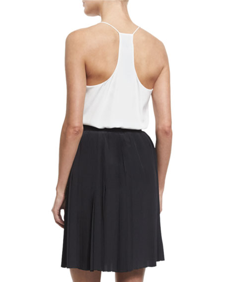 High-Waist A-Line Skirt, Nero