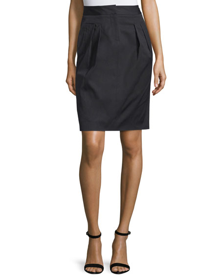 Pleated-Front Pencil Skirt, Nero