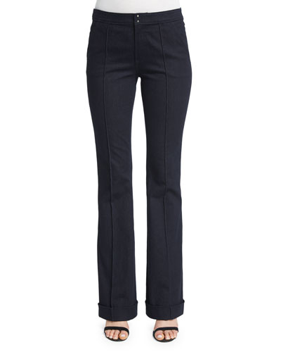 Bailee Mid-Rise Flare-Leg Jeans, Dark Night