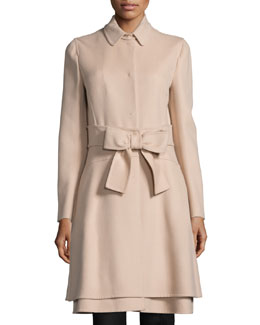 Long-Sleeve Bow-Front Jacket, Beige