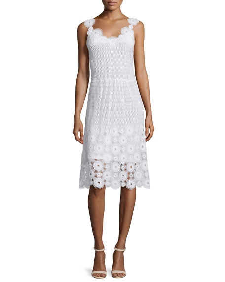 Elie Tahari Goranna Sleeveless Lace Dress, White
