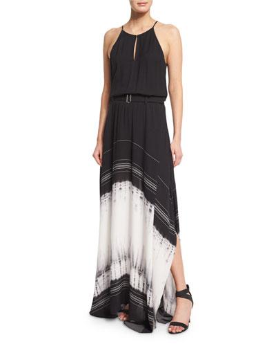 Jeffrey Silk Tie-Dye Maxi Dress, Black/White