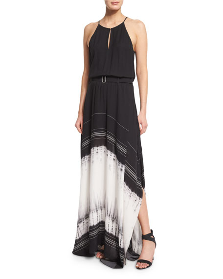 A.L.C. Jeffrey Silk Tie-Dye Maxi Dress, Black/White