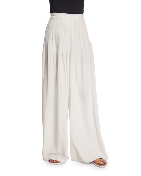 Elizabeth and James Zoe Silk High-Waist Wide-Leg Pants, Ivory