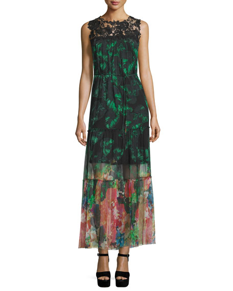 Elie Tahari Corinne Sleeveless Mixed-Print Maxi Dress, Green