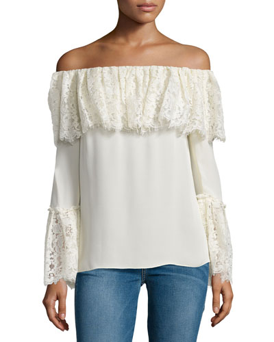 Krystal Off-The-Shoulder Top, Ecru