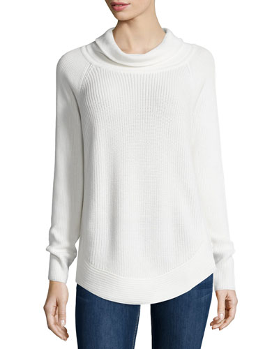 Ribbed Turtleneck Sweater W/Side-Zip