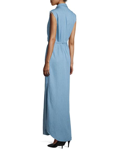 Chambray Sleeveless Maxi Shirtdress, Light Blue