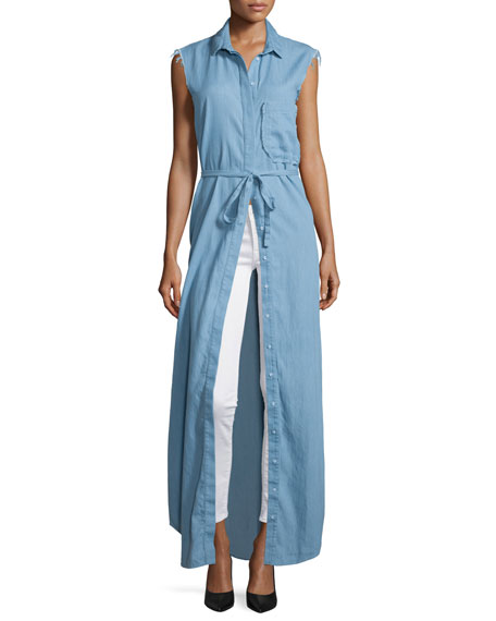 N Nicholas Chambray Sleeveless Maxi Shirtdress, Light Blue