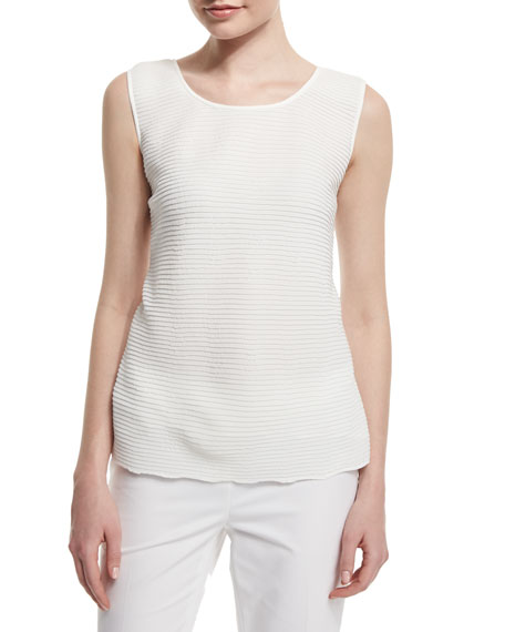 Lafayette 148 New York Cleo Sleeveless Pleated-Front Blouse
